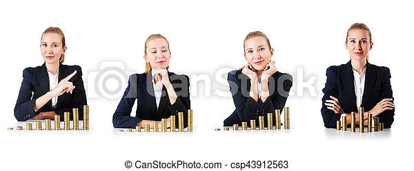 Mujer de negocios con monedas en blanco - csp43912563