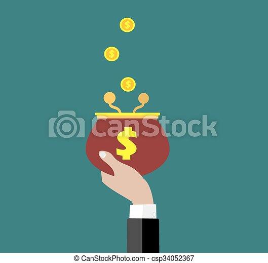 Coins falling to retro money purse. - csp34052367