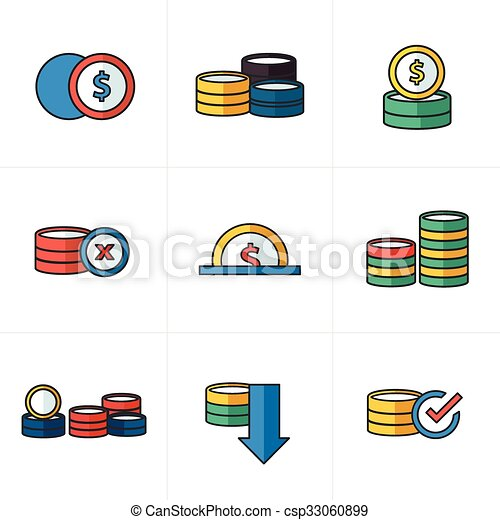 Coins Icons Set cartoon style - csp33060899