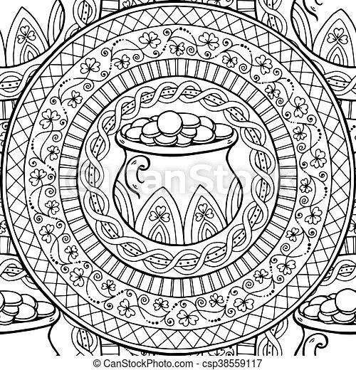 Coins, olla, pattern., seamless, negro, blanco, mandala, clover ...
