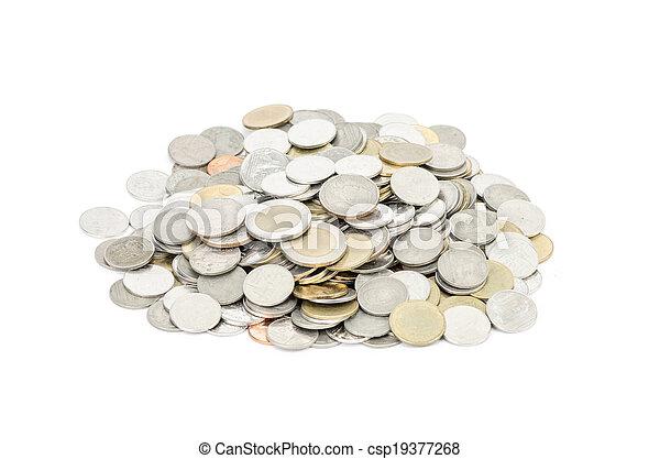 coins on white background - csp19377268
