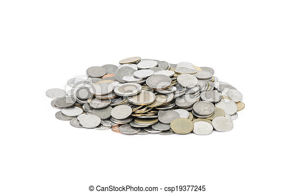coins on white background - csp19377245