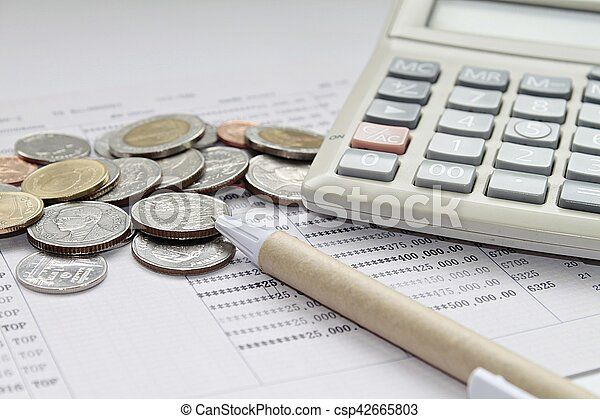 Concept Of Savings  Coins Pen And Calculator On Savings  Stock
