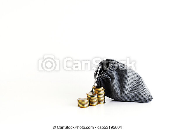 Coins stack and money bag Isolated on white background - csp53195604