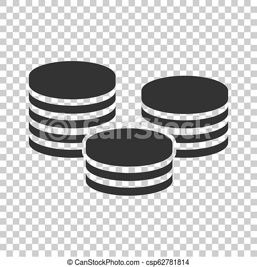 Coins stack icon in flat style. Coin cash vector illustration on isolated background. Money stacked business concept. - csp62781814