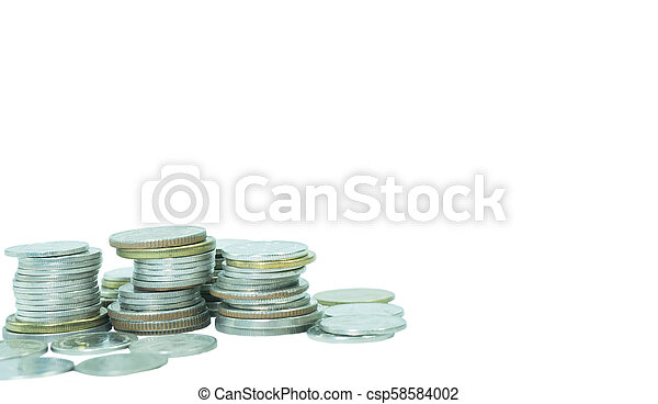 Coins stack on isolated white background. - csp58584002