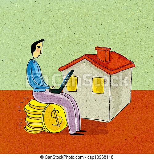 Un hombre sentado en una pila de monedas de dólar trabajando en una computadora portátil frente a la casa - csp10368118