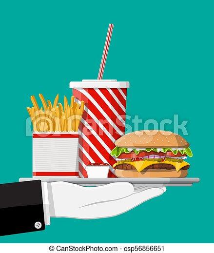 cola, cheeseburger., frigge, tazza - csp56856651