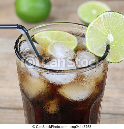 Cola drink in glass with ice cubes - csp24148758