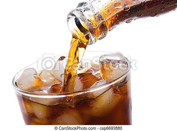 Cola is pouring into glass - csp6693880