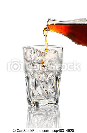 Cola pouring in a glass on white background - csp40314920