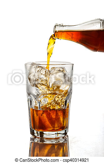 Cola pouring in a glass on white background - csp40314921