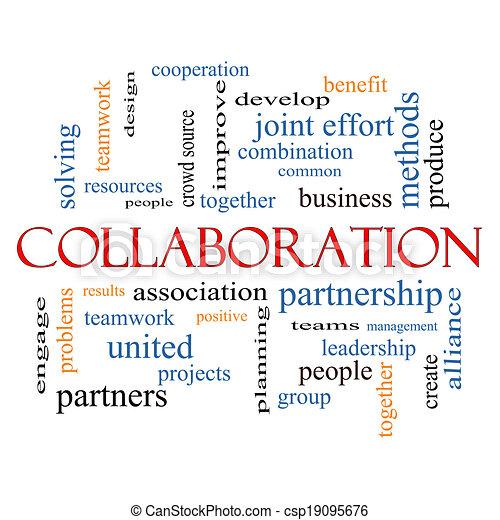 El concepto de la palabra de colaboración de la nube - csp19095676