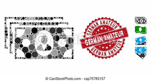 colagem, ícone, selo, amador, textured, notas, alemão - csp75783157