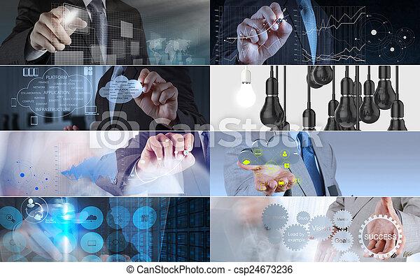 colagem, foto, conceito, estratégia negócio - csp24673236