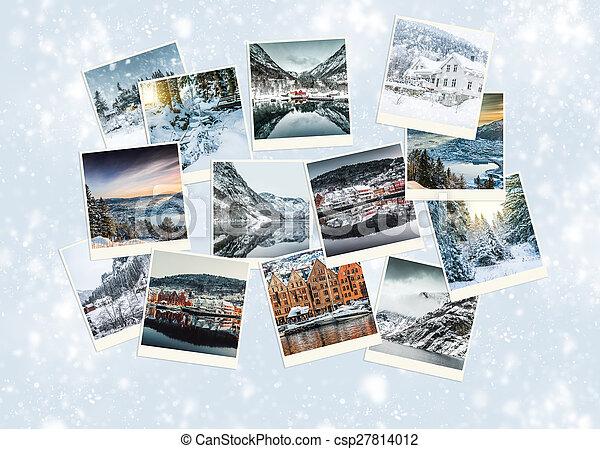 colagem, foto, noruega, inverno - csp27814012