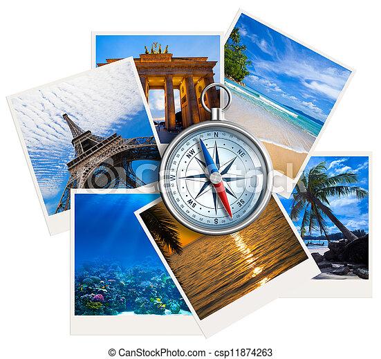 colagem, fotografias, viajando, fundo, compasso, branca - csp11874263