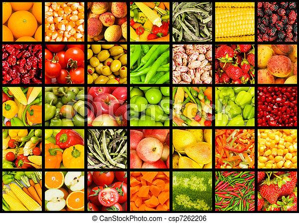 colagem, muitos, legumes, frutas - csp7262206