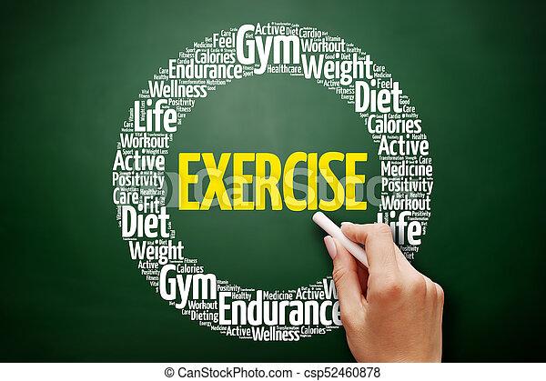 colagem, palavra, exercício, nuvem - csp52460878