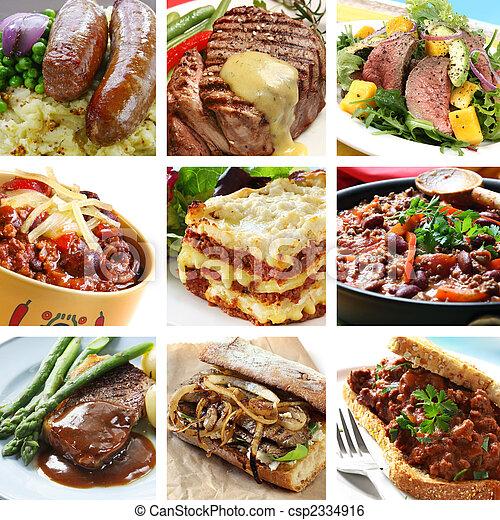 colagem, refeições, carne - csp2334916