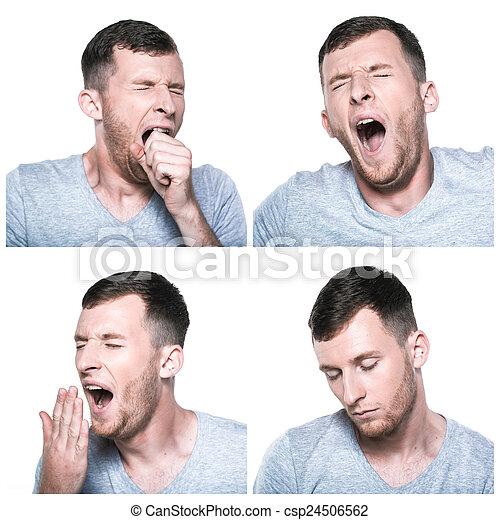 colagem, sonolento, expressões, cansadas, rosto - csp24506562