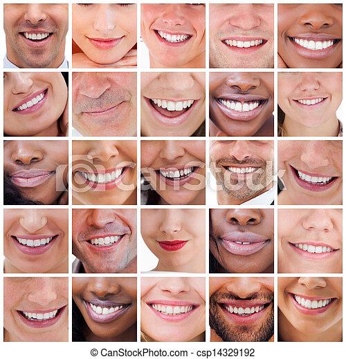 colagem, sorrisos, branca - csp14329192