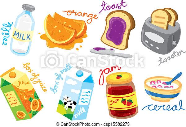 colazione, colorato, icone - csp15582273