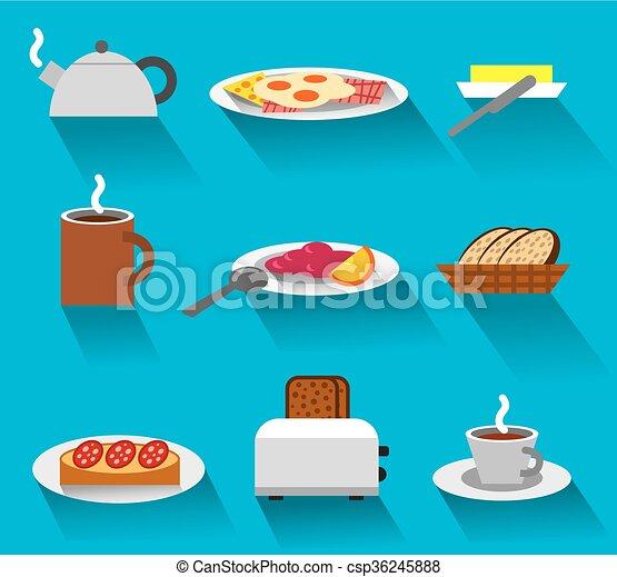 colazione, set, icona - csp36245888