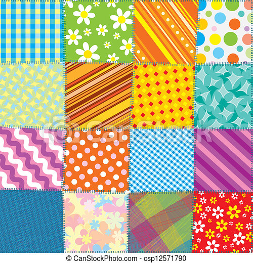 colcha, patchwork, padrão, seamless, vetorial, texture. - csp12571790