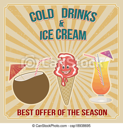 Cold drinks and ice cream stamp - csp18938695