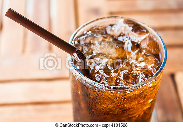 Cold glass with ice  black soda drink  - csp14101528