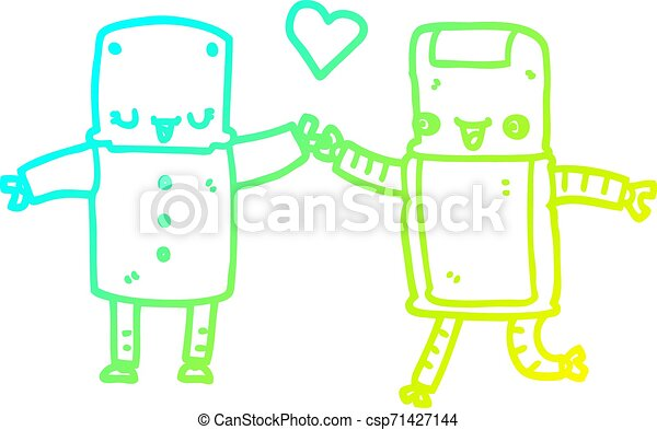 cold gradient line drawing cartoon robots in love - csp71427144