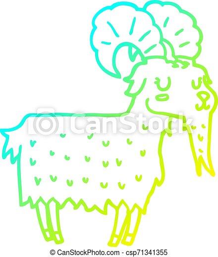 cold gradient line drawing cartoon goat - csp71341355