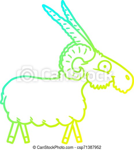 cold gradient line drawing cartoon goat - csp71387952