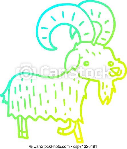 cold gradient line drawing cartoon goat - csp71320491
