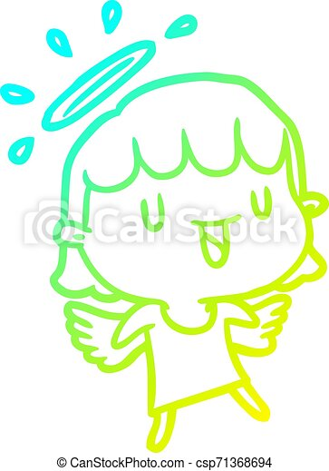 cold gradient line drawing cute angel - csp71368694