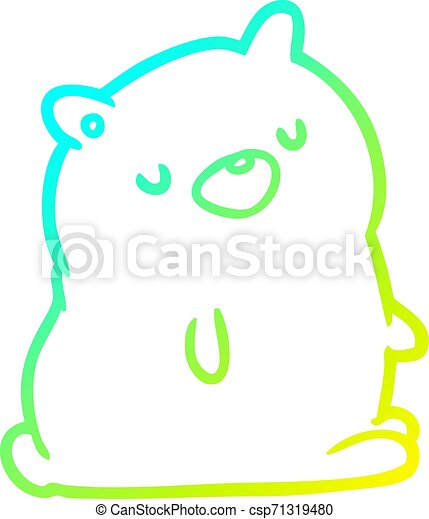 cold gradient line drawing cute bear - csp71319480