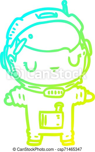 cold gradient line drawing cute astronaut - csp71465347