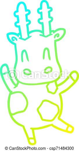 cold gradient line drawing cute giraffe - csp71484300