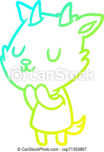 cold gradient line drawing cute goat - csp71353867