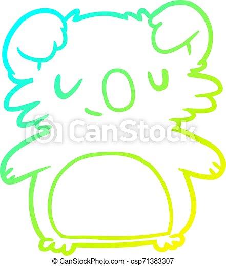 cold gradient line drawing cute koala - csp71383307