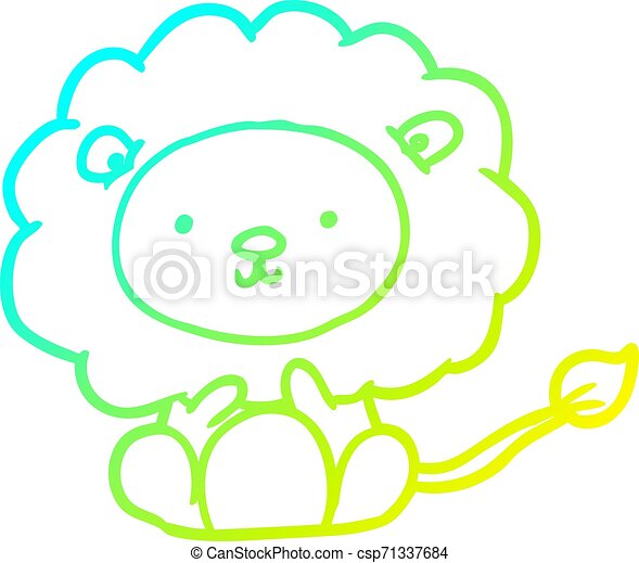 cold gradient line drawing cute lion - csp71337684