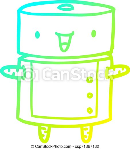 cold gradient line drawing cute robot - csp71367182