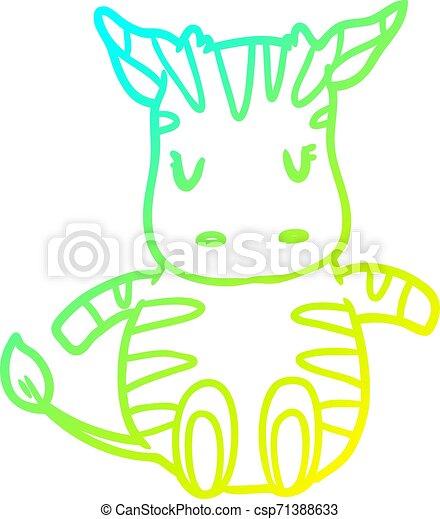 cold gradient line drawing cute zebra - csp71388633
