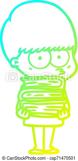 cold gradient line drawing nervous cartoon boy carrying books - csp71470501