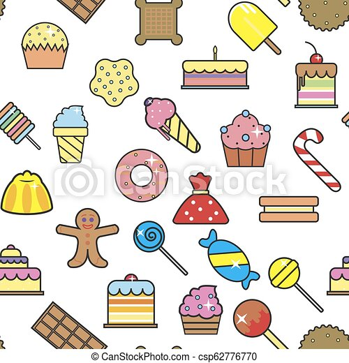 Cold ice cream dessert in crunchy waffle seamless pattern vector. - csp62776770