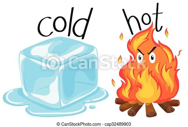 cold icecube and hot fire illustration vector clipart search rh canstockphoto ie cold clipart png cold clipart images