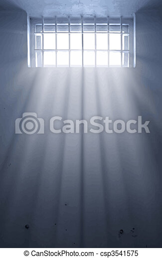 cold prison cell with sunshine through window - csp3541575