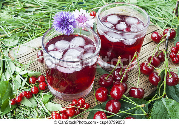 Cold refreshing berry drink with ice - csp48739053