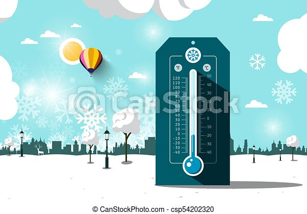 Cold Weather Symbol. Vector Frozen Park. Flat Design Winter Landscape with Thermometer. - csp54202320